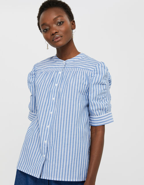 Tessa Striped Shirt in Pure Cotton, Blue (BLUE), large