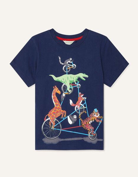 Animal Biker T-Shirt  Blue, Blue (NAVY), large