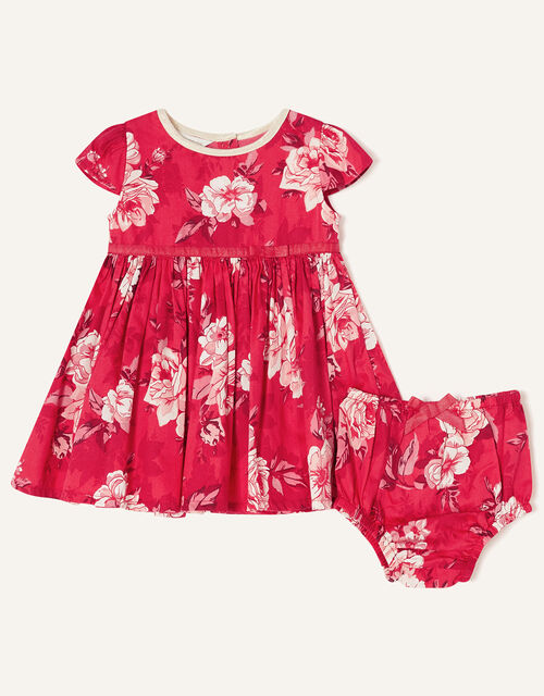 Newborn Floral and Briefs Dress, Red (RED), large