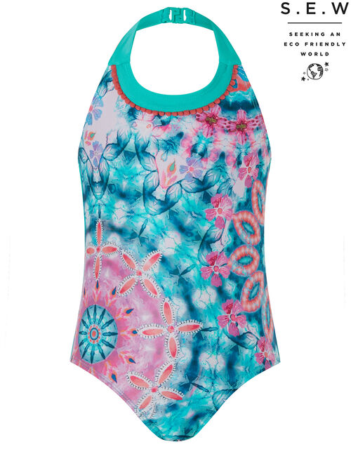 Kit Tie-Dye Floral Halter Swimsuit with Recycled Fabric, Blue (NAVY), large