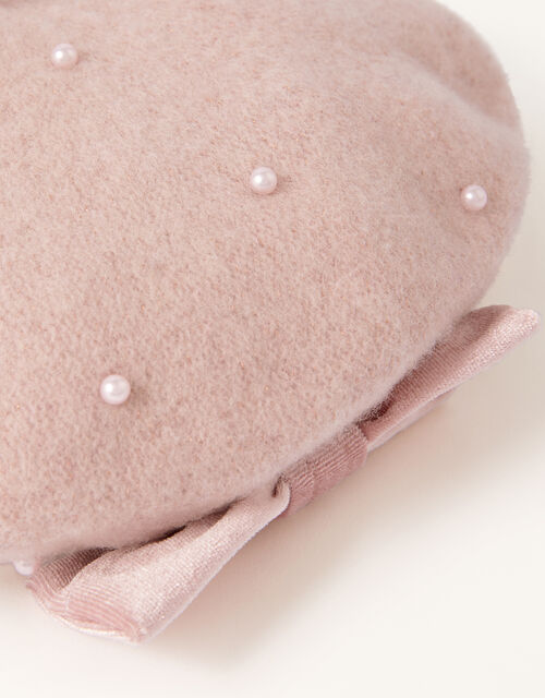 Amelie Beret in Pure Wool, Pink (PINK), large