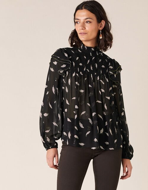 Shimmer Feather Blouse in Sustainable Viscose, Black (BLACK), large