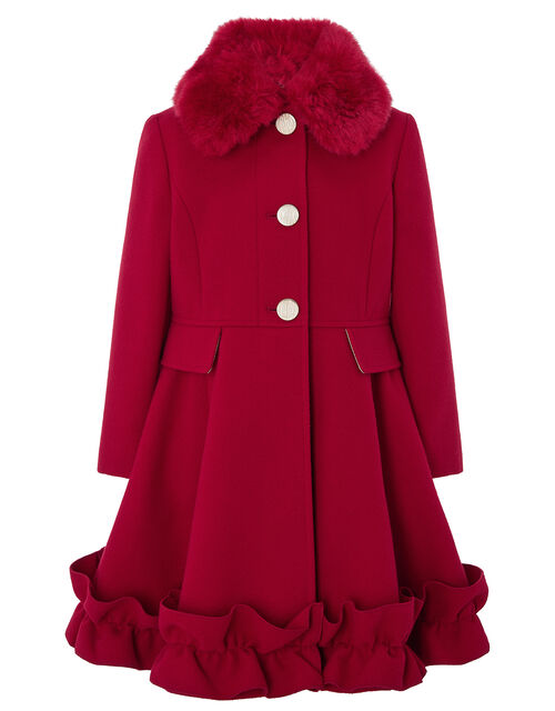 Red Ruffle Hem Coat, Red (RED), large