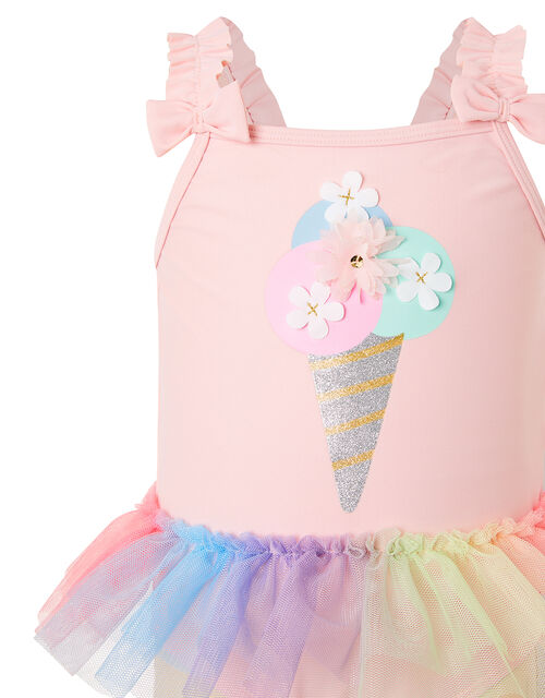 Baby Ice Cream Skirted Swimsuit , Pink (PALE PINK), large
