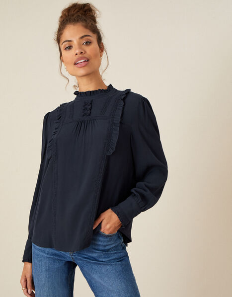 Ruffle and Lace Trim Top Blue, Blue (NAVY), large