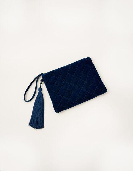 Quilted Velvet Clutch Bag, , large
