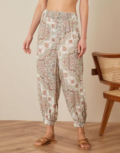 Miriam Printed Hareem Trousers Natural, Natural (NATURAL), large