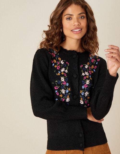 Embroidered Flower Cardigan, Black (BLACK), large