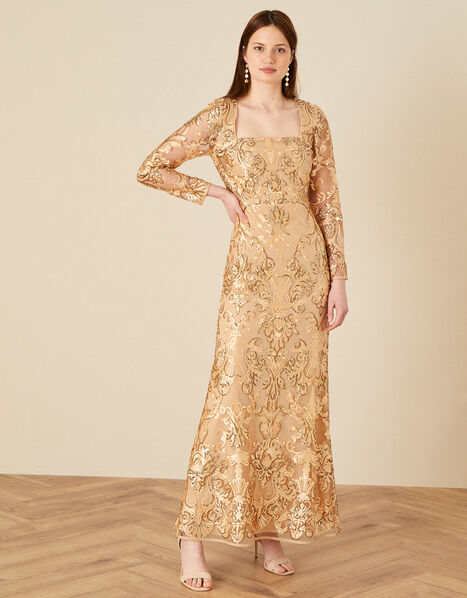 Ariana Sequin Fishtail Maxi Dress Gold, Gold (GOLD), large