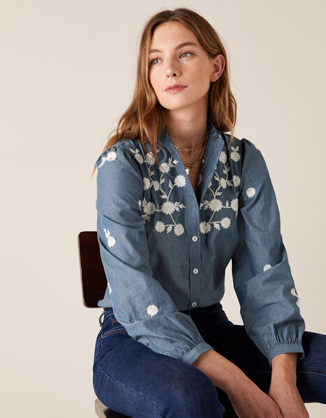 Floral Embroidery Top in Pure Cotton Blue, Blue (BLUE), large