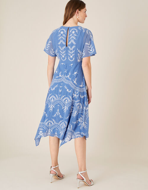 Daisy Embroidered Hanky Hem Dress, Blue (BLUE), large