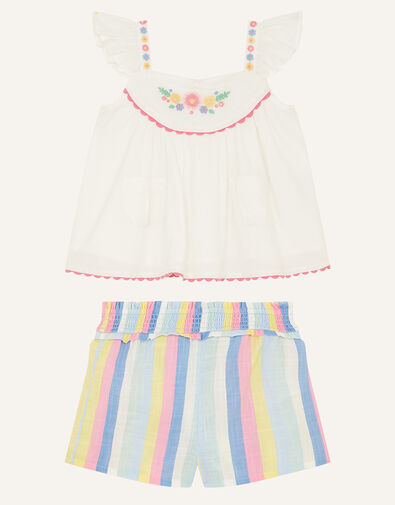 Baby Floral Stripe Top and Shorts Set Ivory, Ivory (IVORY), large