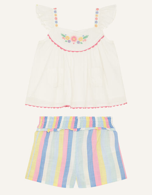 Baby Floral Stripe Top and Shorts Set, Ivory (IVORY), large