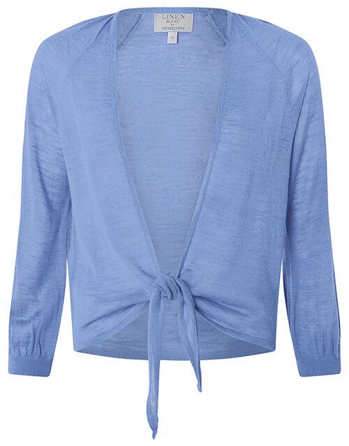 Libby Tie Shrug in Linen Blend, Blue (BLUE), large