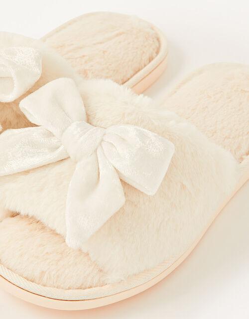 Velvet Bow Faux Fur Slippers, Ivory (IVORY), large