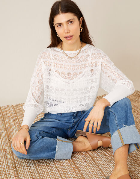 Pippa Pointelle Sheer Jumper  Ivory, Ivory (IVORY), large