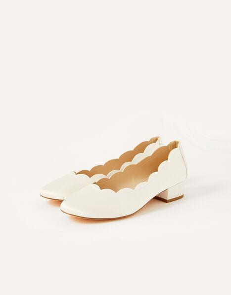 Sasha Scallop Edge Bridal Shoe Ivory, Ivory (IVORY), large