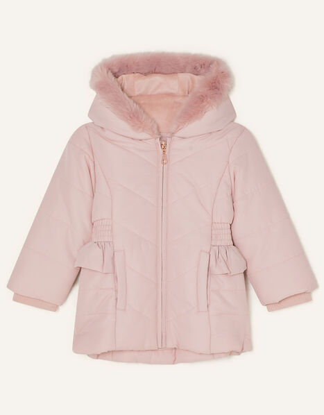 Baby Frill Shirred Waist Padded Coat Pink, Pink (PALE PINK), large