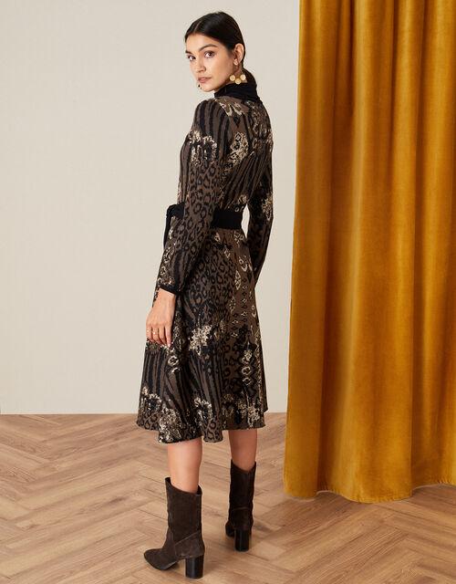 Mixed Print Jacquard Dress, Black (BLACK), large