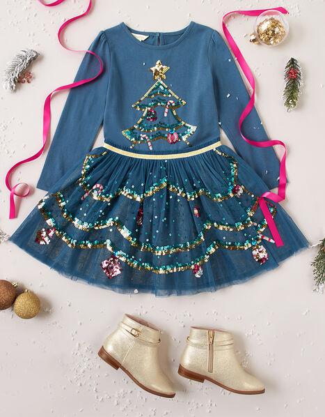 XMAS Sequin Tree Disco Dress Teal, Teal (TEAL), large