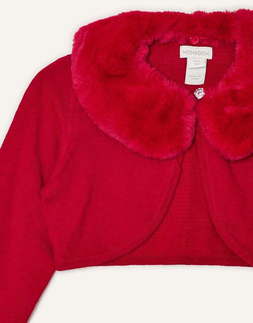 Faux Fur Collar Cardigan, Red (RED), large