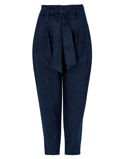 Pam Paperbag Trousers in Pure Linen, Blue (NAVY), large