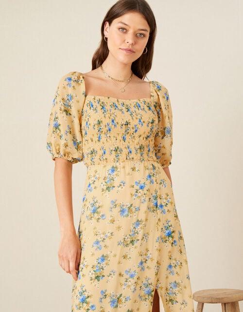 Yvonne Floral Shirred Midi Dress, Yellow (YELLOW), large