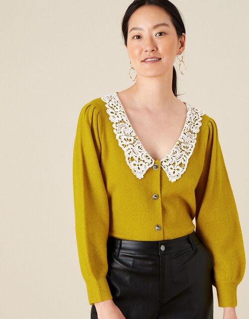 Leila Lace Collar Cardigan, Yellow (OCHRE), large