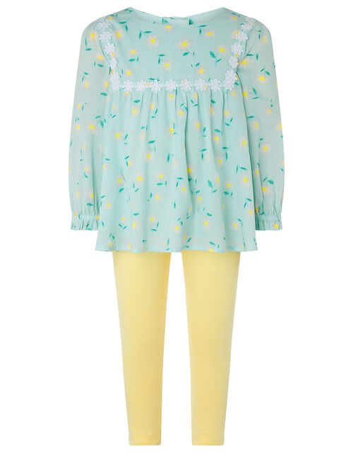Baby Idina Daisy Top and Legging Set, Blue (AQUA), large