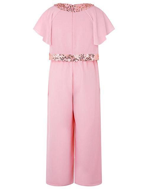 Megan Sequin Wide-Leg Jumpsuit, Pink (DUSKY PINK), large
