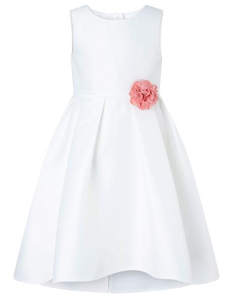 Corsage Belt Hi-Low Dress Ivory, Ivory (IVORY), large