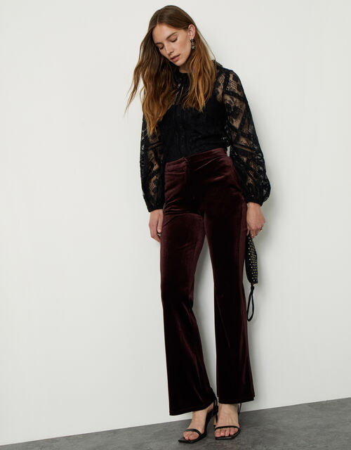 Bella Velvet Bootleg Trousers, Brown (CHOCOLATE), large