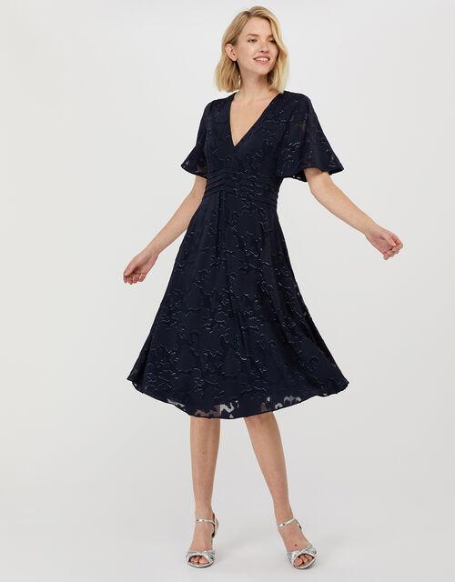 Laurina Burnout Pattern Short Dress, Blue (NAVY), large