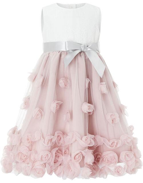 Baby Ianthe 3D Flower Dress, Pink (DUSKY PINK), large