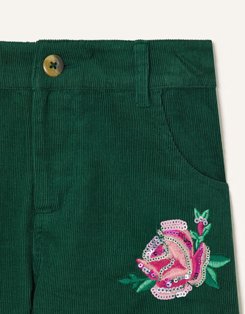 Floral Embroidered Cord Shorts, Green (GREEN), large