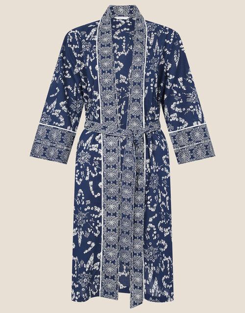 ARTISAN STUDIO Handscreen Print Robe, Blue (NAVY), large