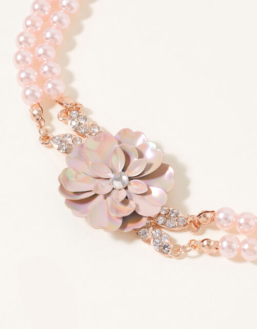 Pearl Floral Multirow Necklace, , large