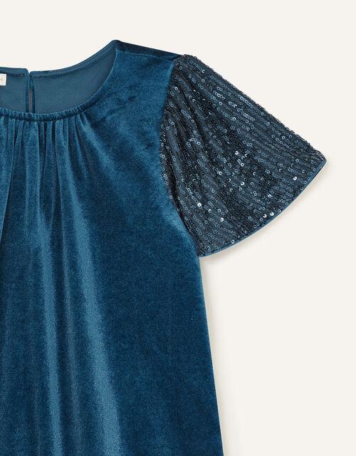 Sequin Velvet Swing Dress, Teal (TEAL), large