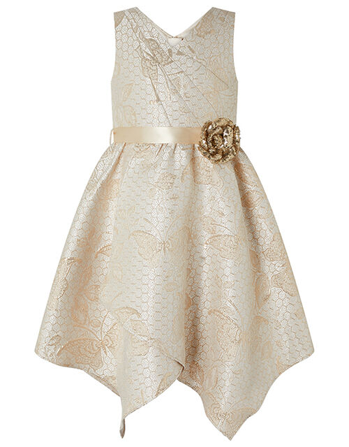 Honey Jacquard Dress with Sequin Corsage, Gold (GOLD), large