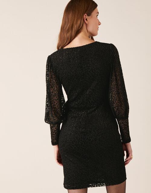 Abigail Shimmer Animal Devore Dress, Black (BLACK), large
