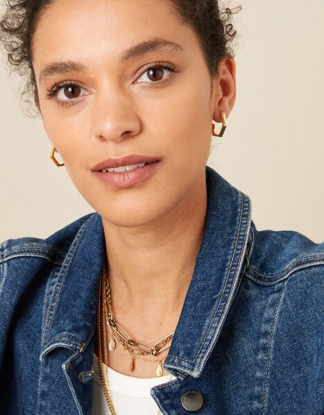 Gold-Plated Hexagon Hoops, , large