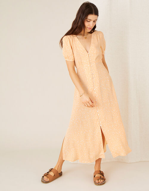 Printed Tea Dress in Sustainable Viscose, Orange (PEACH), large