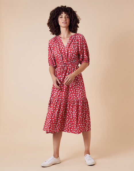 Daisy Print Midi Dress in LENZING™ ECOVERO™ Red, Red (RED), large
