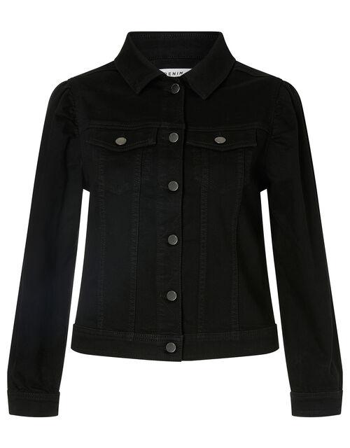 Puff Sleeve Denim Jacket, Black (BLACK), large