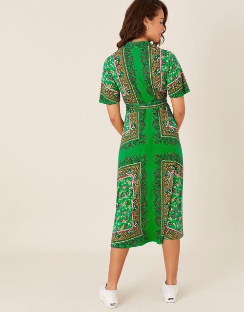 Raegan Heritage Print Midi Dress, Green (GREEN), large