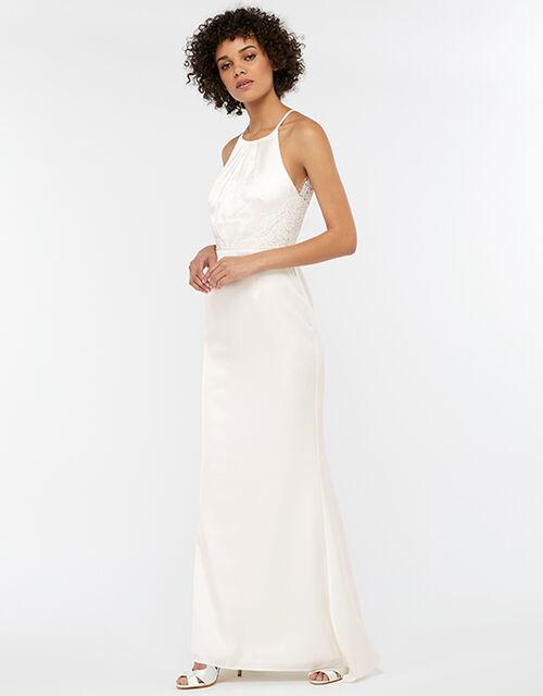 Anne Lace Back Satin Maxi Wedding Dress, Ivory (IVORY), large