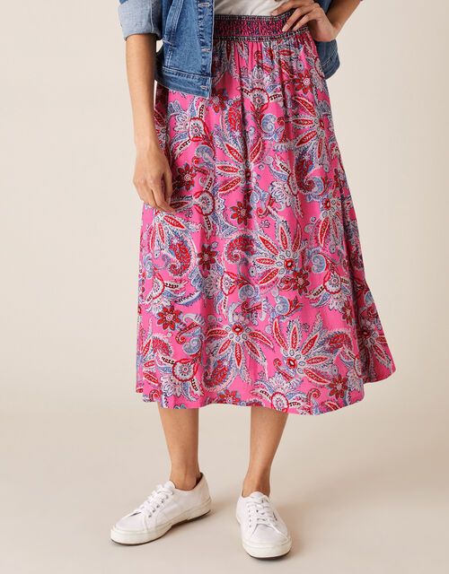 Paisley Print Skirt in LENZING™ ECOVERO™, Pink (PINK), large