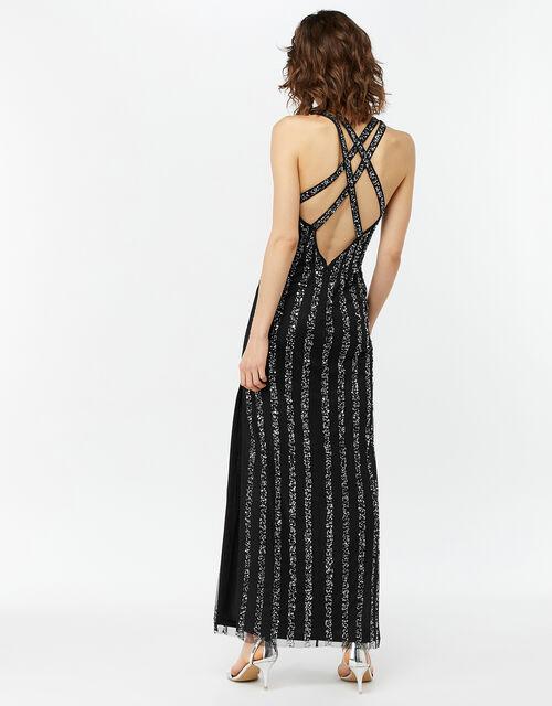 Rosie Linear Sequin Maxi Dress, Black (BLACK), large