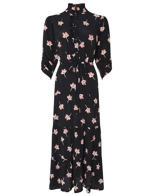 Mazi Floral Print Tiered Dress, Black, large