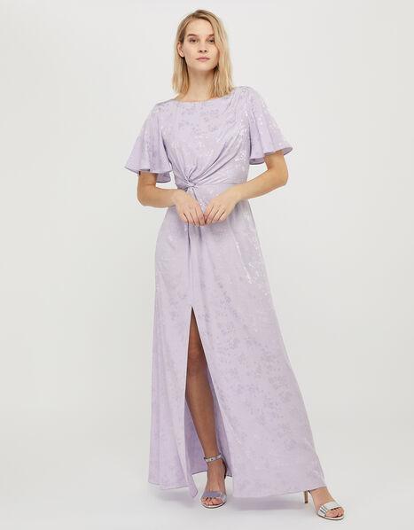Ellinor Satin Jacquard Maxi Dress Purple, Purple (LILAC), large